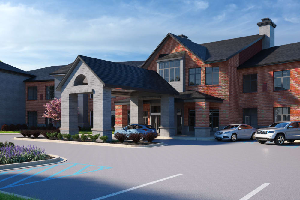 Main entryway and parking lot at Anthology of Midlothian - Opening Early 2021 in North Chesterfield, Virginia