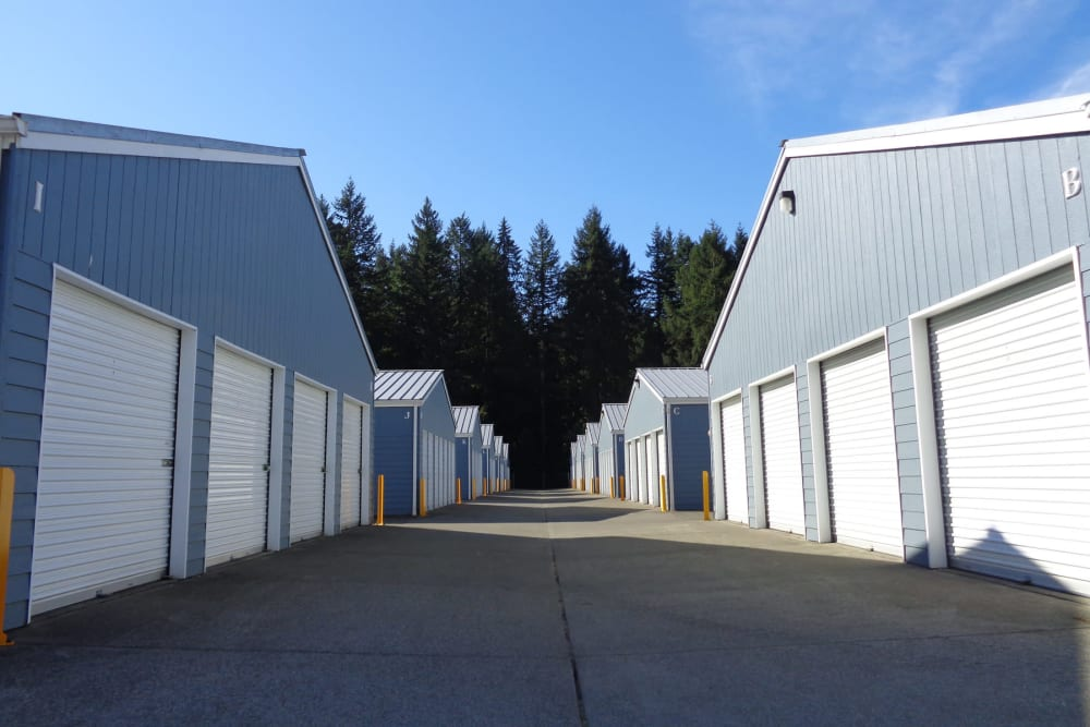 Wide driveway between storage units at Capitol City Storage in Olympia, Washington