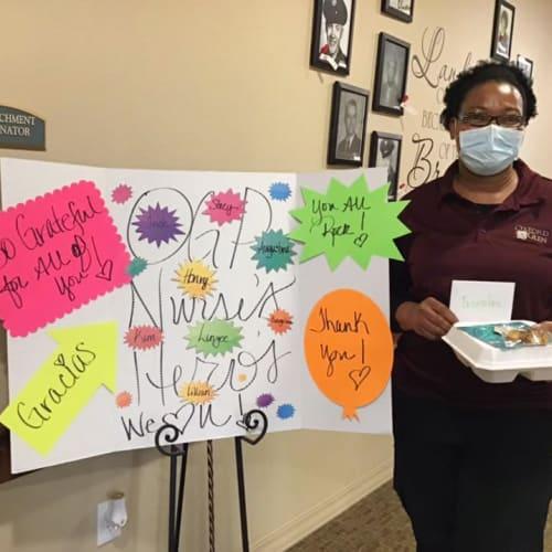 A team member at Oxford Glen Memory Care at Grand Prairie in Grand Prairie, Texas