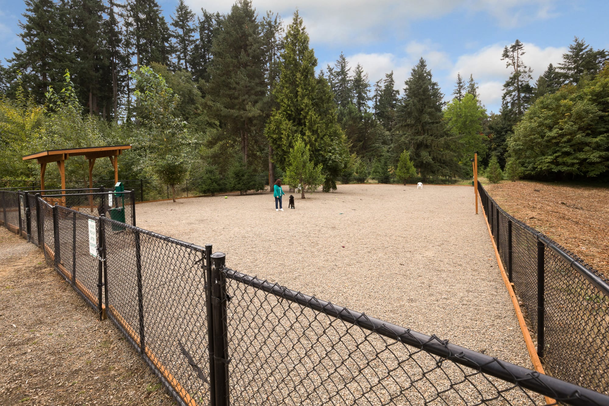 The off-leash bark park at pet-friendly Terrene at the Grove in Wilsonville, Oregon