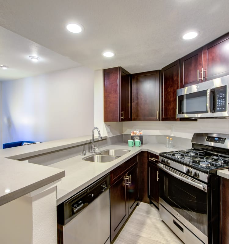 Chef-inspired kitchen with dark wood cabinetry and stainless-steel appliances in a model home at Sofi at 3rd in Long Beach, California