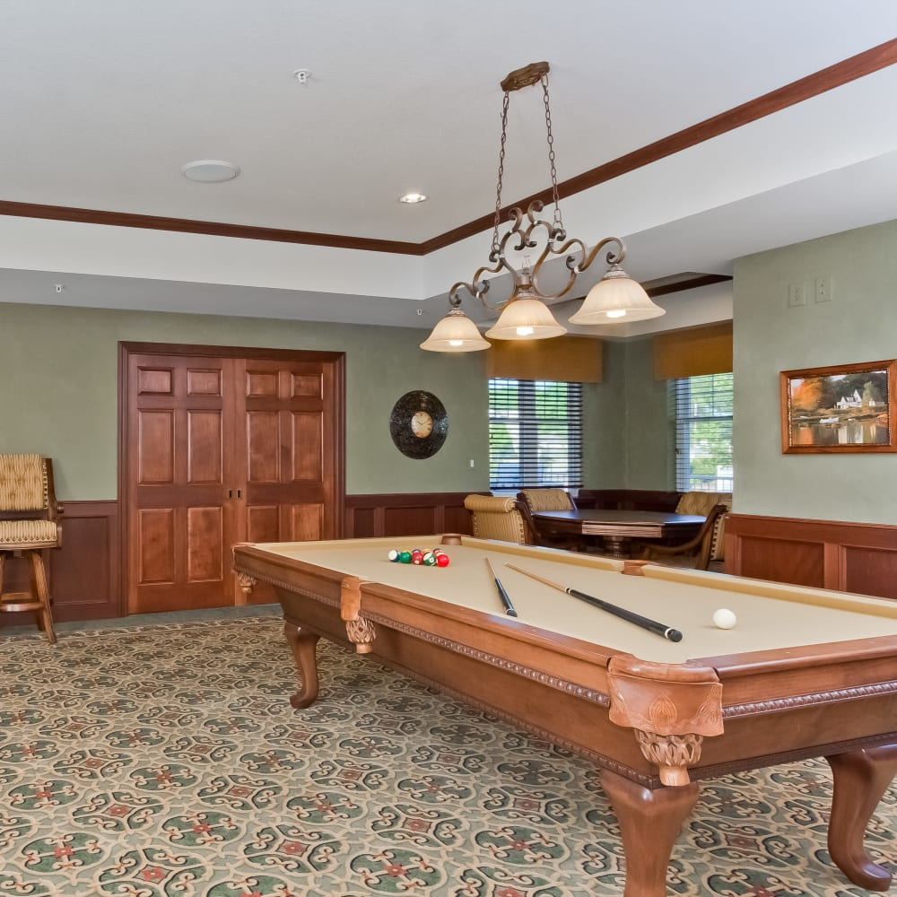 Resident pool table at Applewood Pointe Bloomington at Southtown in Bloomington, Minnesota.