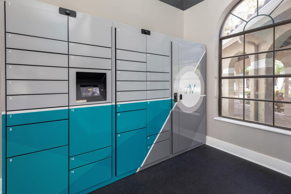 Resident storage lockers at The EnV in Hollywood, Florida