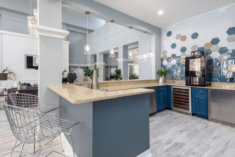 Spacious clubhouse with kitchen at Luxe at 1820 in Tampa, Florida