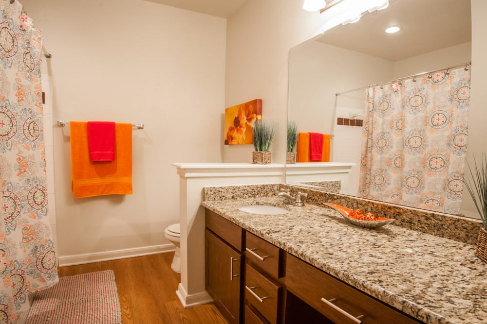 Modern bathroom at Sedona Ranch Apartments in San Antonio, Texas