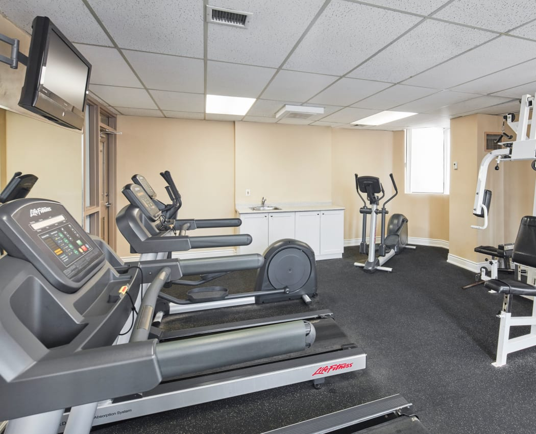 Fully equipped fitness center at 8 Silver Maple Court in Brampton, Ontario