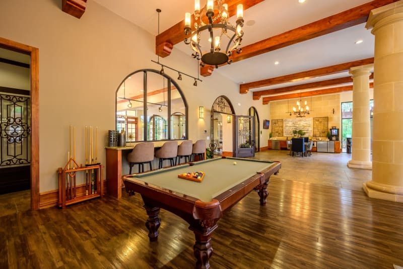 Billiards table in clubhouse at Pecan Springs Apartments in San Antonio, Texas