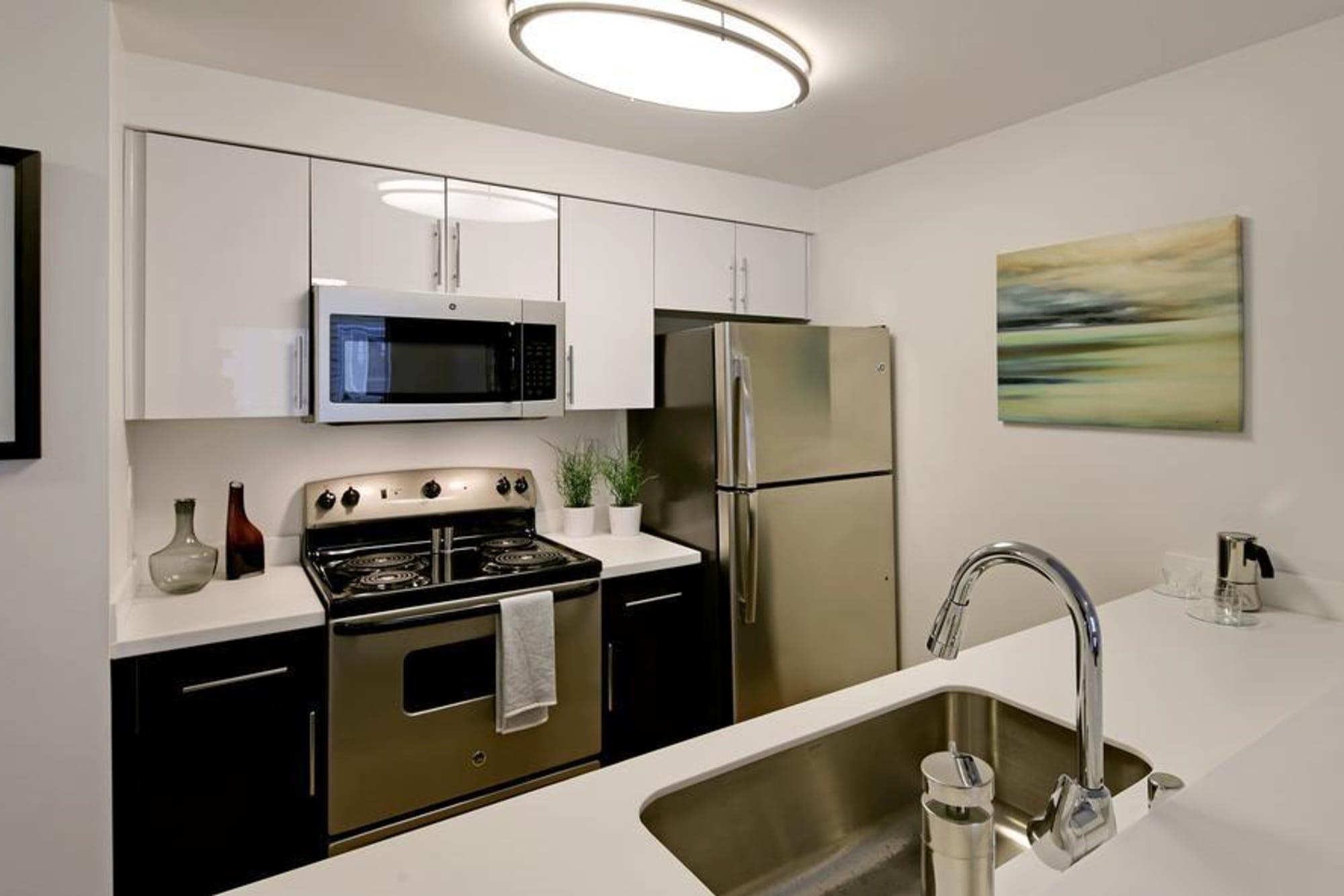 Narrow Kitchen Design at Elan 41 Apartments in Seattle, WA