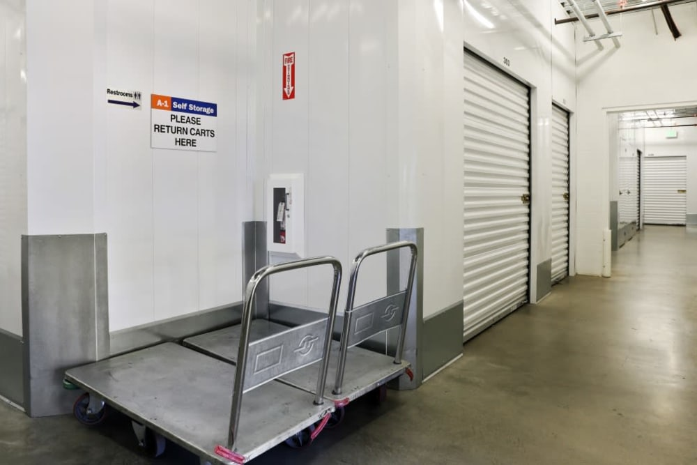 Indoor storage units and carts at A-1 Self Storage in Alhambra, California