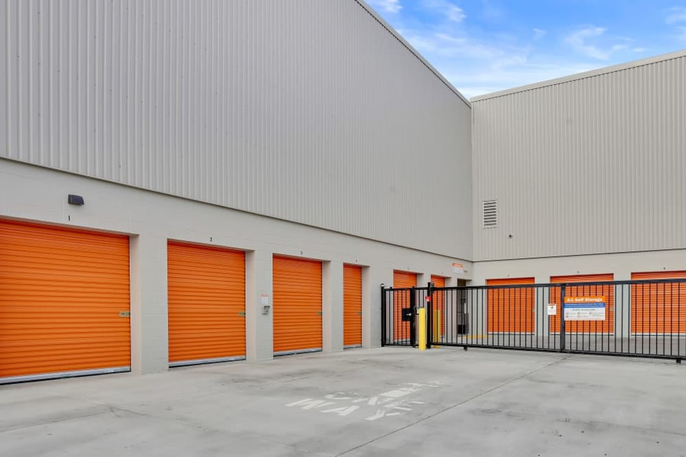 A row of drive-up storage units at A-1 Self Storage in San Jose, California