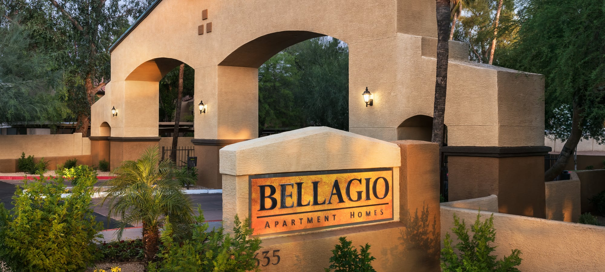 Entrance sign at Bellagio in Scottsdale, Arizona