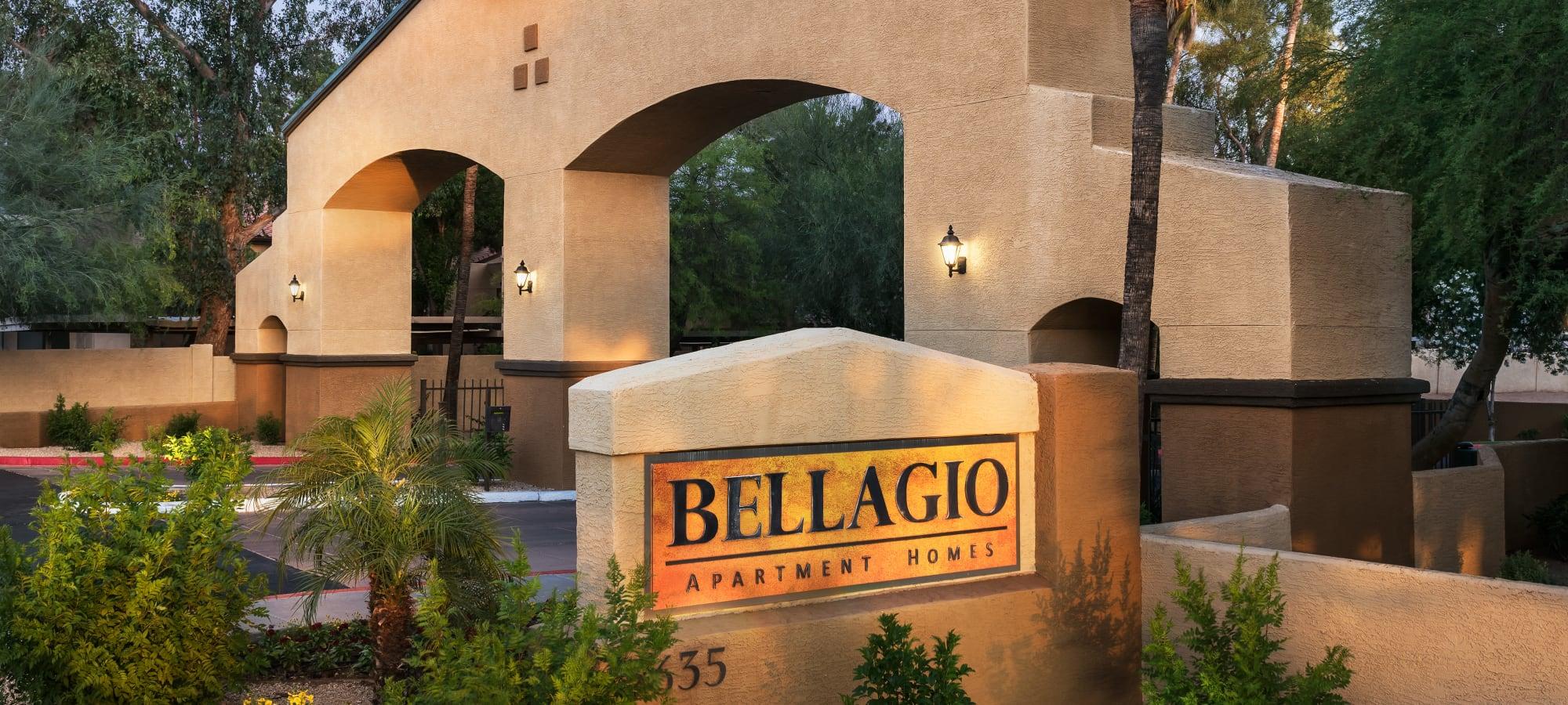 Entrance sign at Bellagio in Scottsdale, Arizona