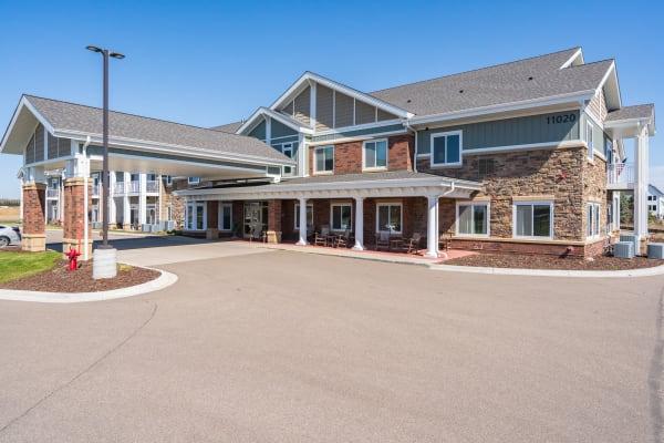 Front entrance of building at Arbor Glen Senior Living in Lake Elmo, Minnesota