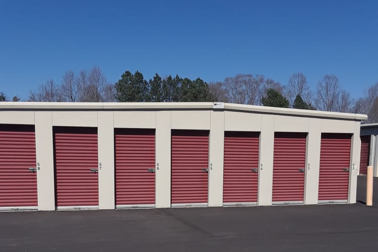 Row of storage units at Monster Self Storage in Westminster, South Carolina