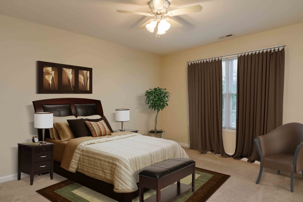 Villas of Victor and Regency Townhomes offers a cozy bedroom in Victor, NY