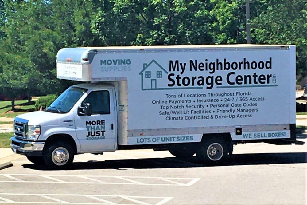 Moving truck at My Neighborhood Storage Center in Raleigh, North Carolina