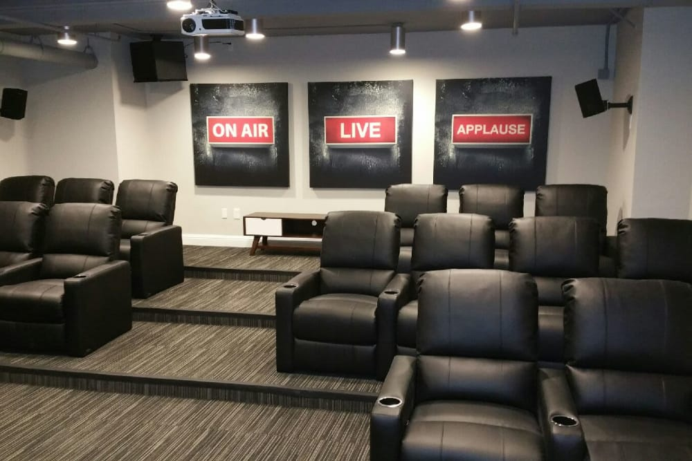 In-house theater at Halcyon House in Denver, Colorado