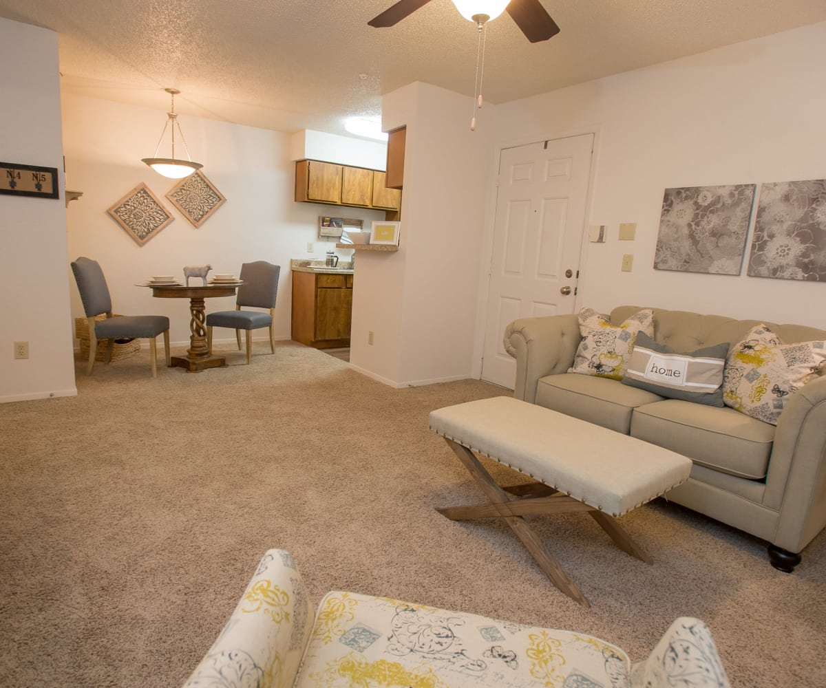 Well-lit living room at Cimarron Pointe Apartments in Oklahoma City, Oklahoma
