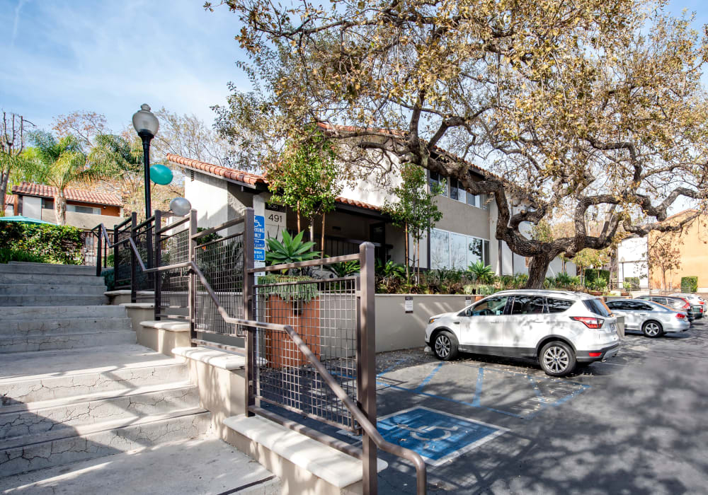 Mature trees and professionally maintained landscaping outside the leasing office at Sofi Thousand Oaks in Thousand Oaks, California