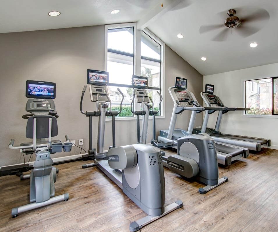 Cardio machines and more in the fitness center at Vue Fremont in Fremont, California