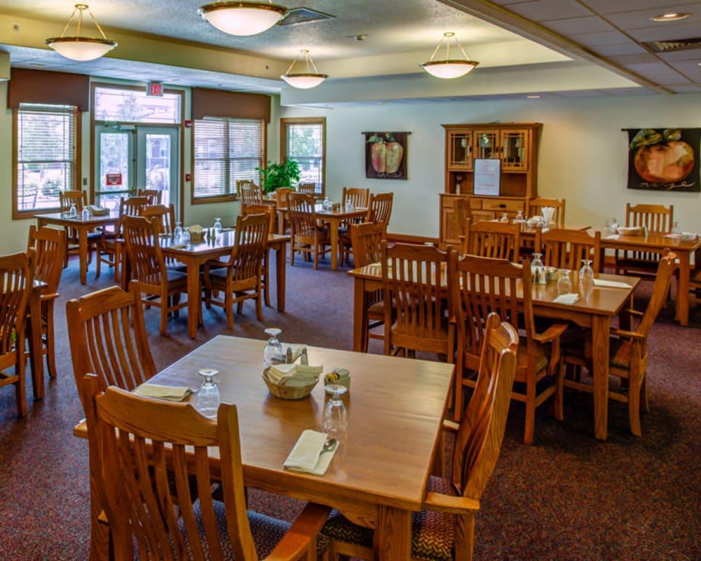 Spacious resident dining room at Prairie Hills Clinton in Clinton, Iowa.