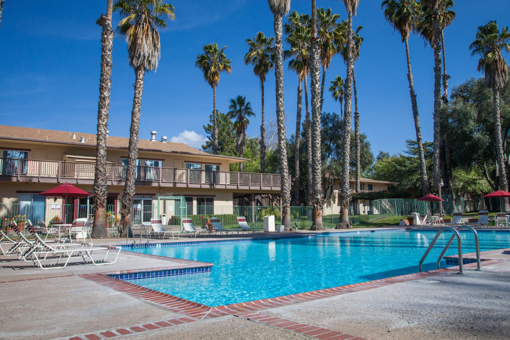 Sparkling swimming pool at Valley West Apartments in San Jose, California