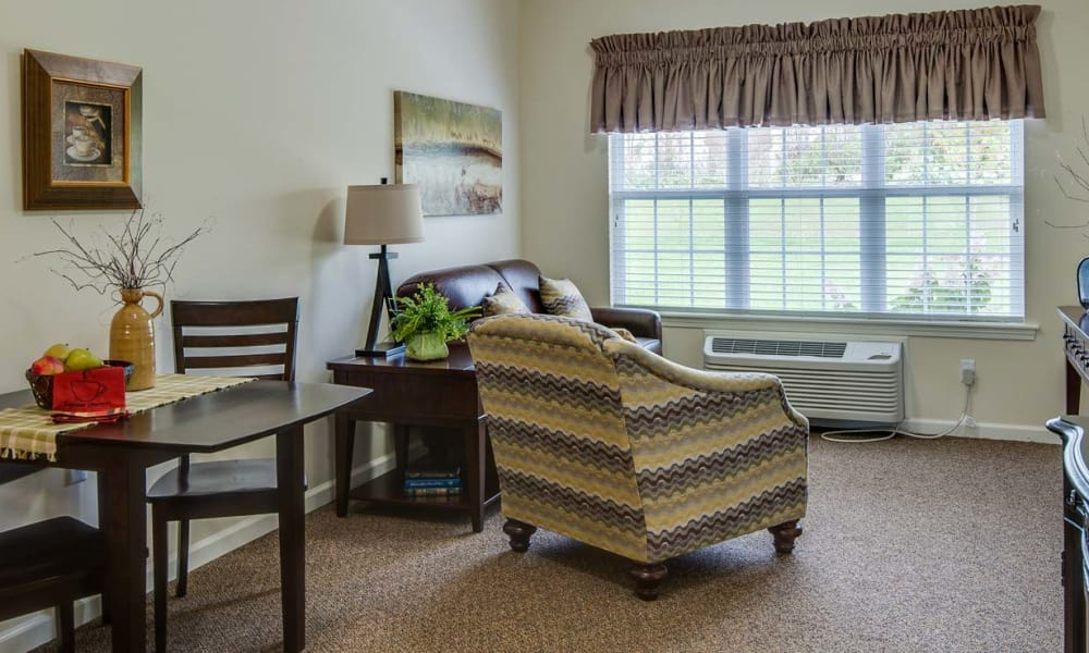 Cozy floor plan for assisted living residents at The Neighborhoods by TigerPlace in Columbia, Missouri