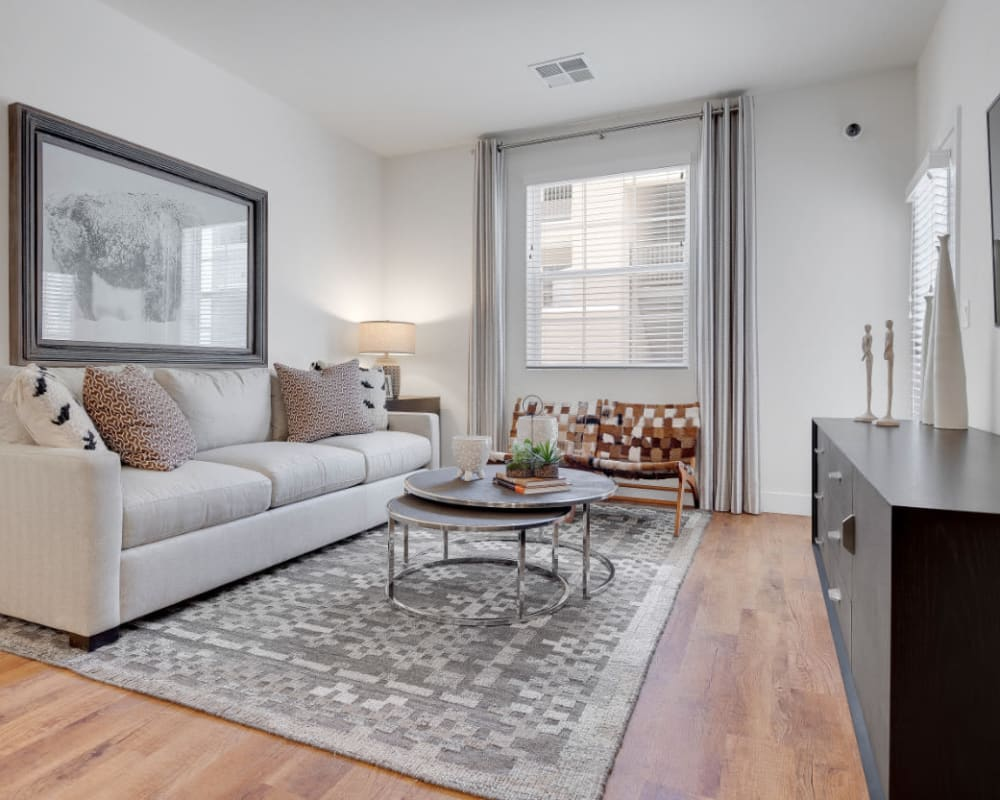Comfortably decorated living space in a model home at Olympus Rodeo in Santa Fe, New Mexico