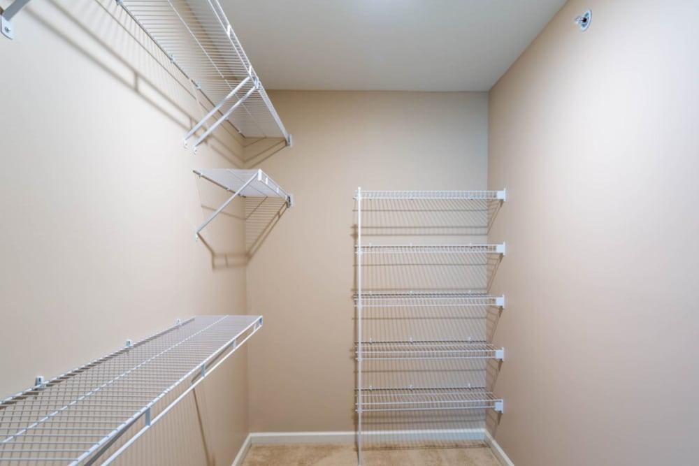 Closet space in suite at Bennington Hills Apartments in West Henrietta, New York