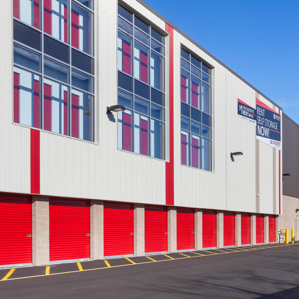 Facade with exterior and indoor storage units visible at StorQuest Self Storage in Jersey City, New Jersey