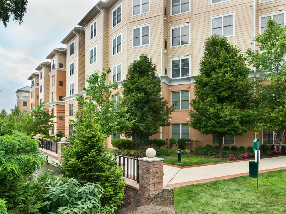 Lush landscaping outside resident buildings at Sofi at Morristown Station in Morristown, New Jersey