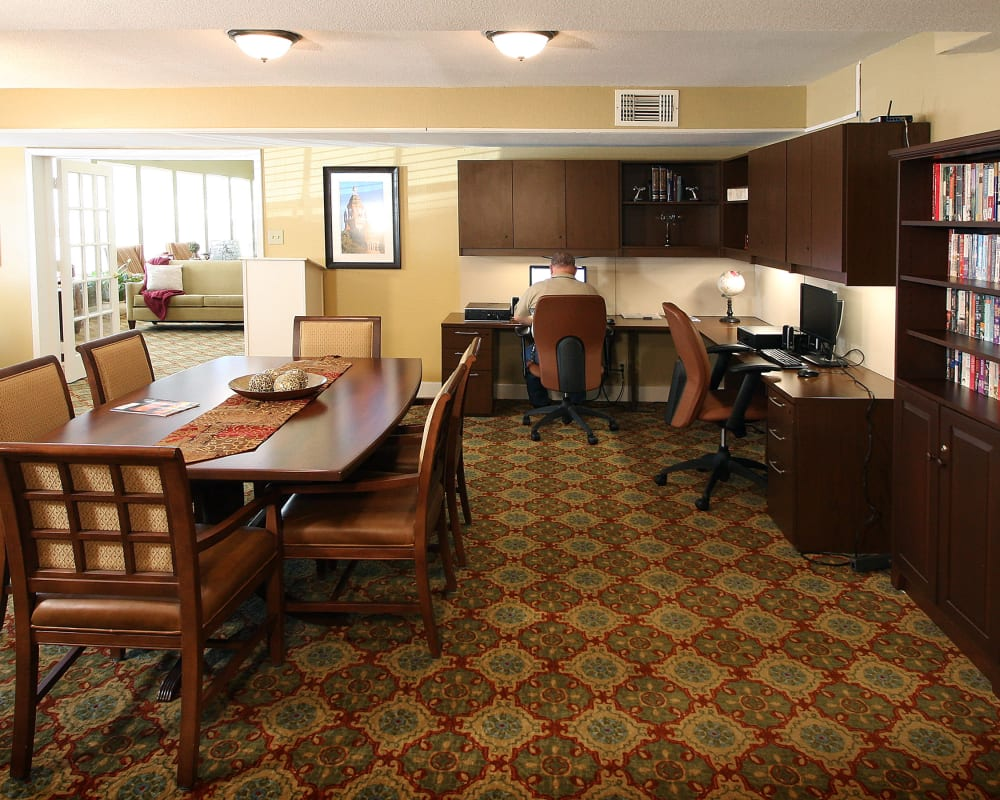 Computers for resident use at West Fork Village in Irving, Texas