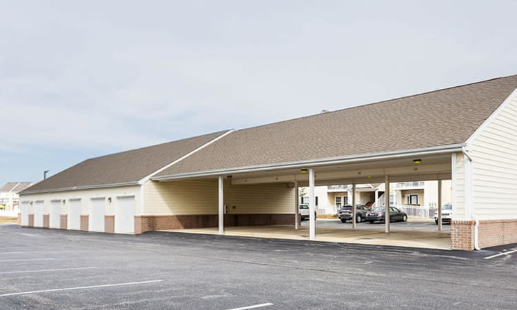 Covered parking at Cannon Mills in Dover, Delaware