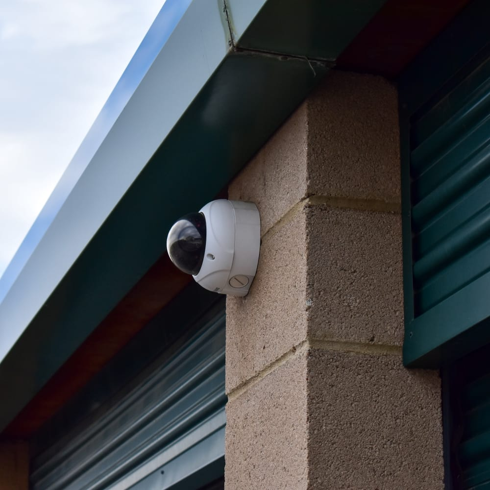 A video surveillance camera at STOR-N-LOCK Self Storage in Littleton, Colorado