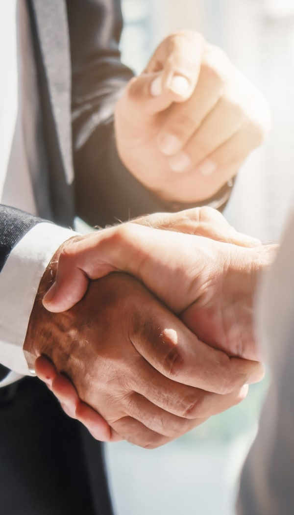 Employees of Ray Stone Inc. shaking hands