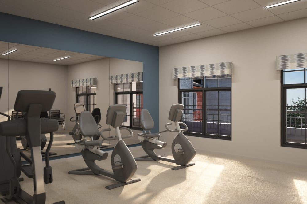 A well equipped fitness center at Anthology of Midlothian in North Chesterfield, Virginia