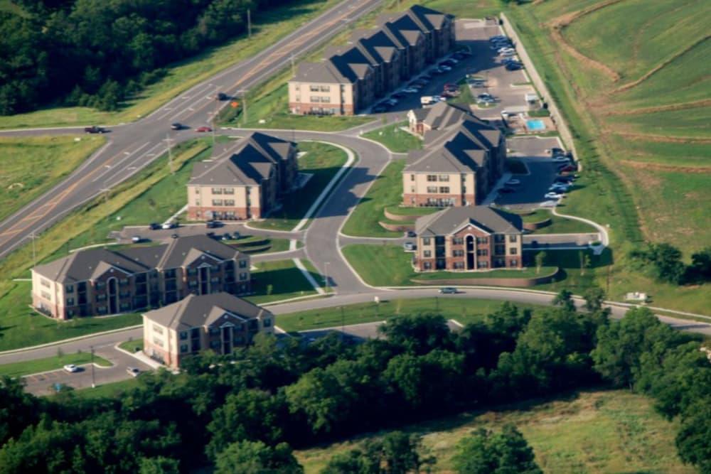 Aerial view of Highland Ridge Apartments in Manhattan, KS