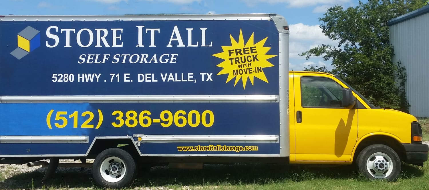 Storage Trucks at Store It All Self Storage - Del Valle in Del Valle, TX