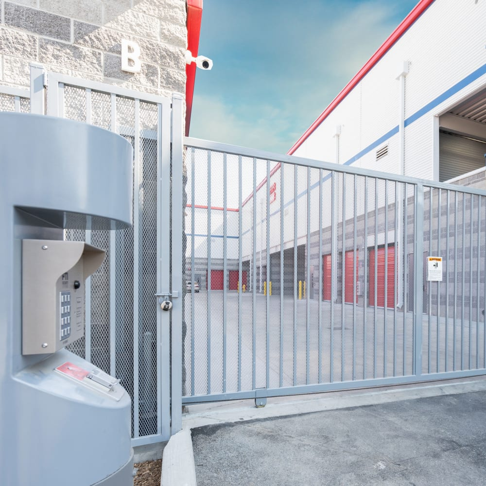 Security gate access point at Trojan Storage in San Jose, California