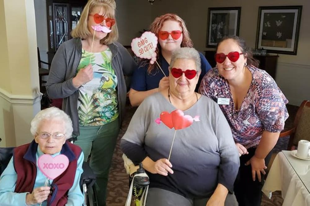 Residents celebrating Valentine's day at Eastlake Terrace in Elkhart, Indiana