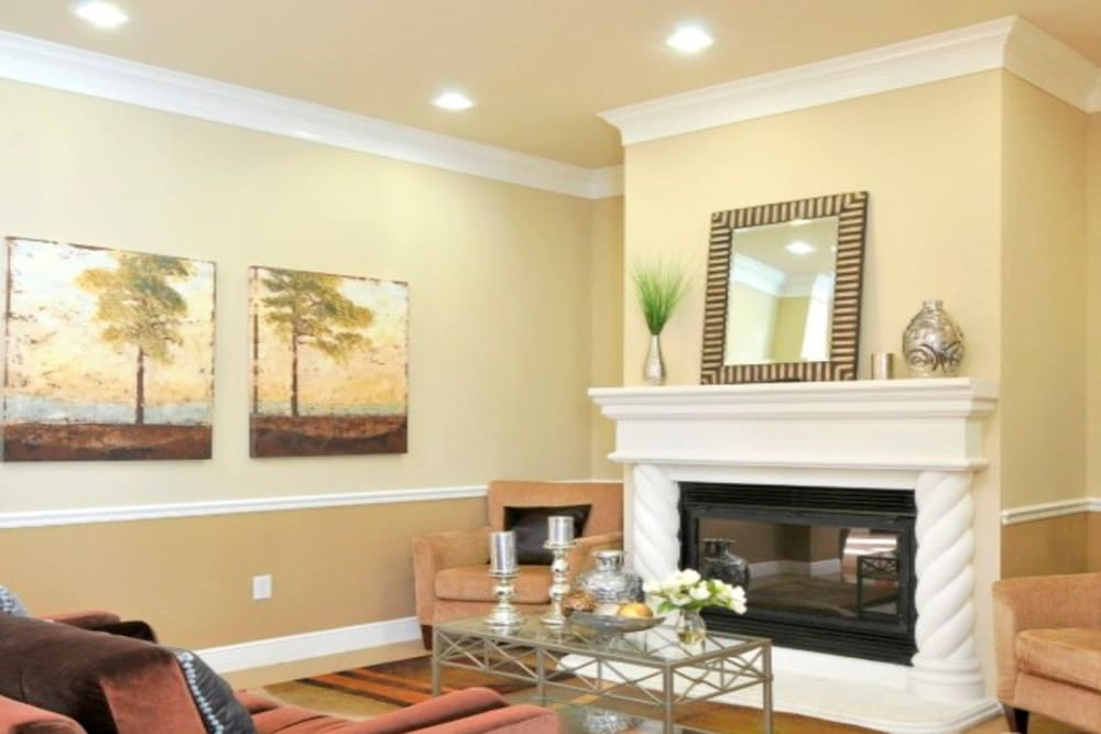 Fireplace in living room at Legacy of Cedar Hill Apartments & Townhomes in Cedar Hill, Texas