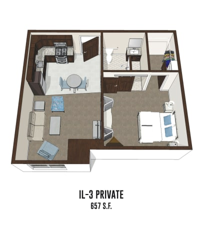 Independent living private room 3 is 657 square feet at Gahanna in Columbus, Ohio.
