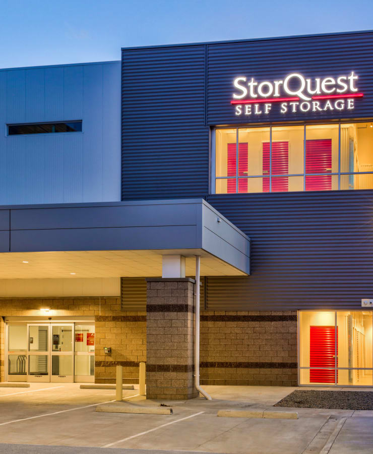 Exterior of the entrance at StorQuest Self Storage in Denver, Colorado