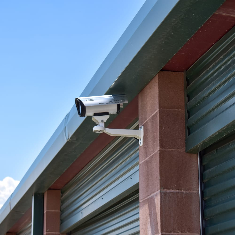 A video surveillance camera at STOR-N-LOCK Self Storage in Gypsum, Colorado