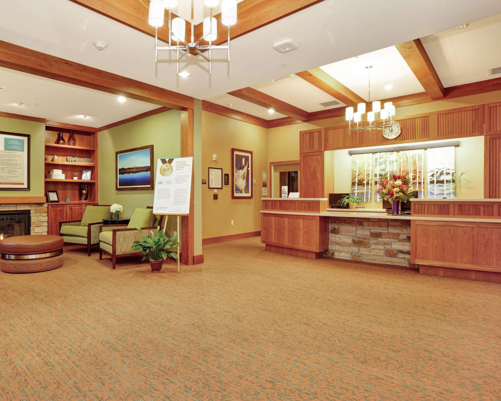 Front desk at Seven Lakes Memory Care in Loveland, Colorado