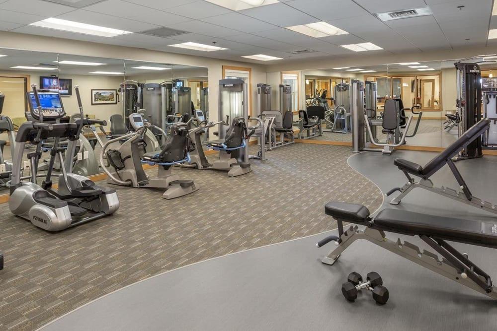 Modern gym equipment for resident use at The Springs at Greer Gardens in Eugene, Oregon