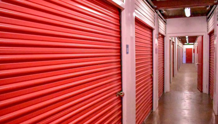 Red storage unit doors at STOR-N-LOCK Self Storage in Aurora, Colorado