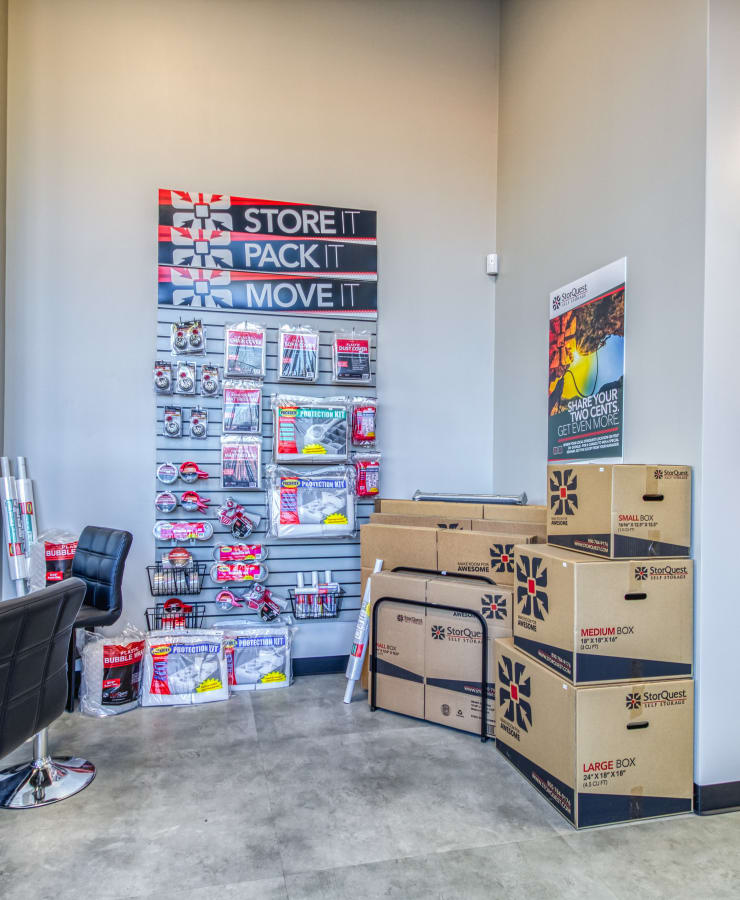 Packing supplies sold at StorQuest Self Storage in Modesto, California