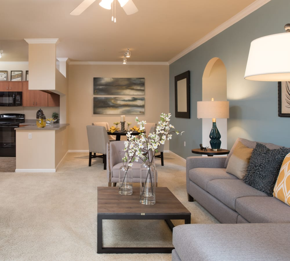 Open-concept floor plan with plush carpeting at Esplanade Apartment Homes in Riverside, California