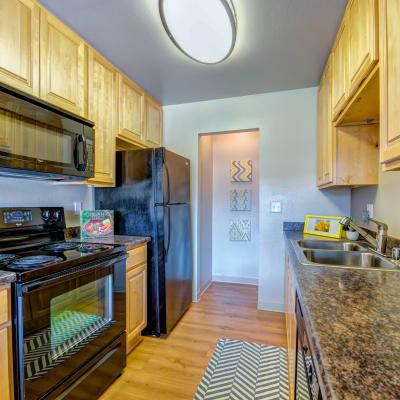 Modern kitchen with sleek black appliances and a dual-basin sink in a model home at Sofi Laguna Hills in Laguna Hills, California